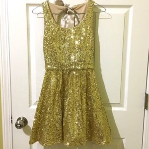Gold Sequin Fit and Flare A-line Skater Dress